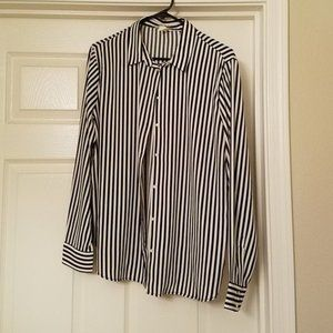 H&M Black and White Striped Button Blouse